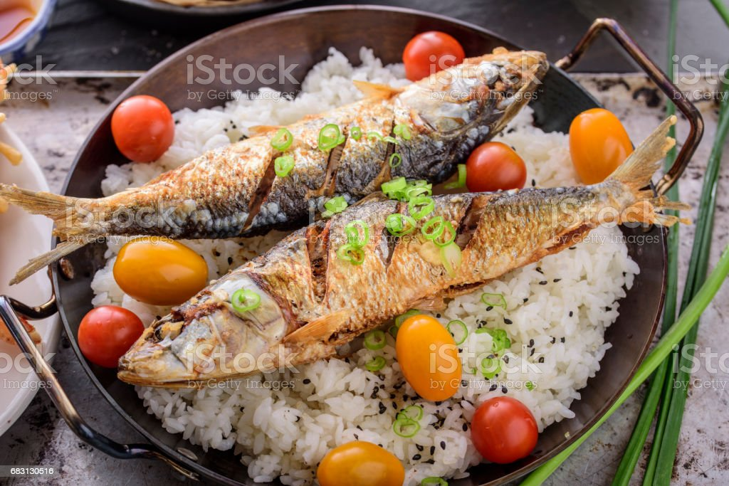 煎魚飯 免版稅 stock photo