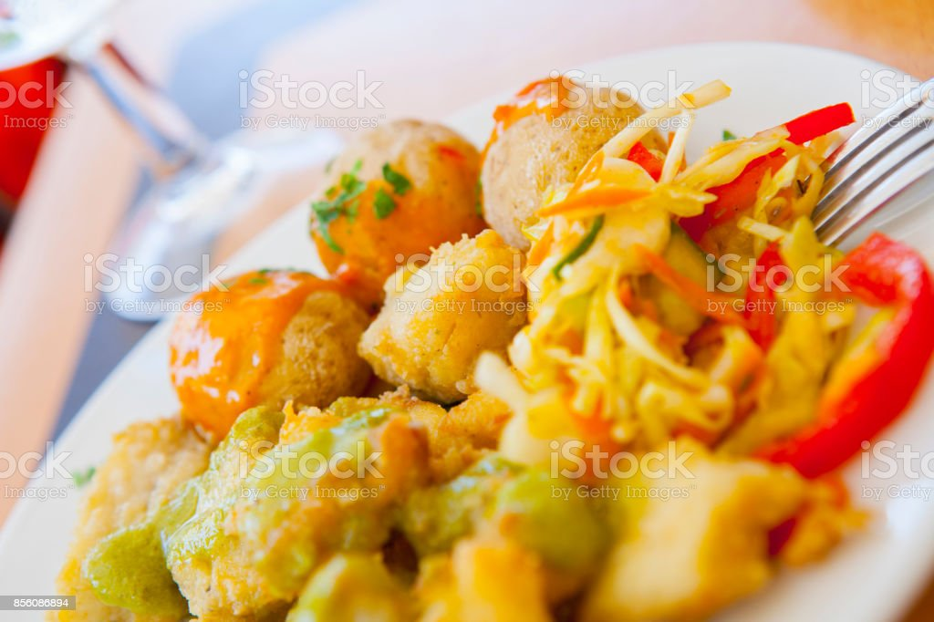 Fried fish tacos from Grand Canary stock photo