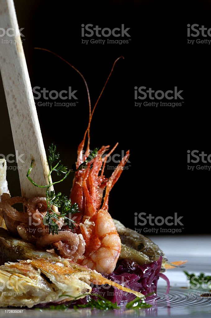 Fried fishes and shrimp II royalty-free stock photo