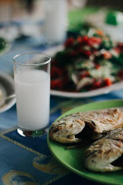 Fried fishes with Turkish raki
