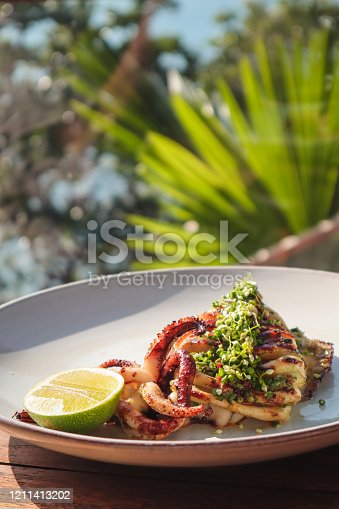 fried gourmet squid with lime