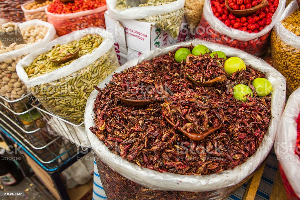Fried Grasshoppers for Sale in Market, Mexico stock photo