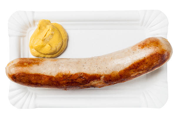 Fried grill sausage mustard stock photo