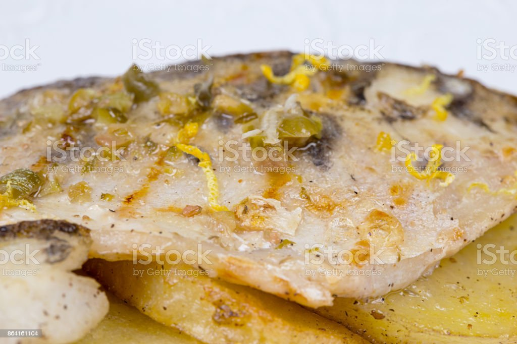 Fried grilled haddock with vegetables royalty-free stock photo