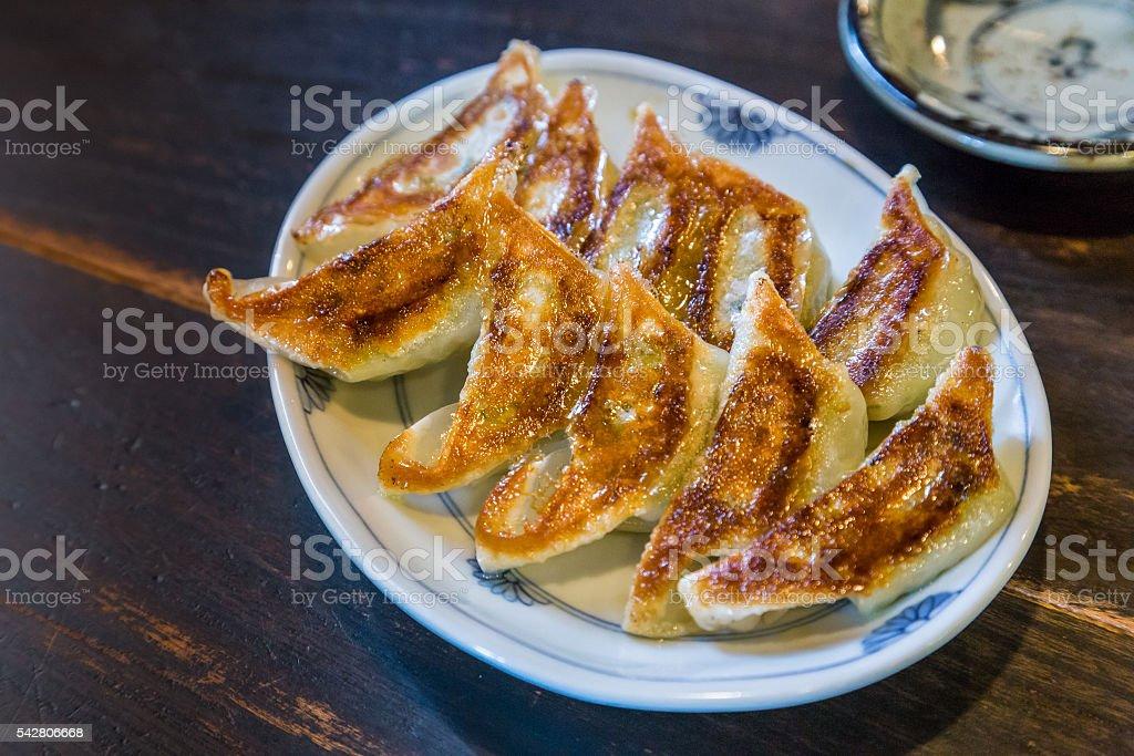 fried gyoza stock photo