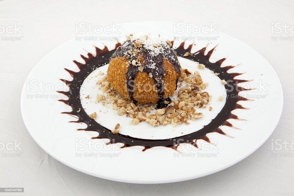 Fried Icecream on white isolated background royalty-free stock photo
