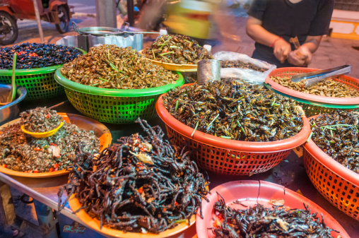 Deep Fried Insects For Sale A Street Market Stall In Phnom Penh, Cambodia