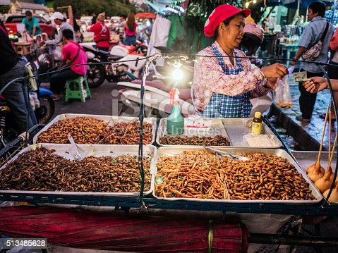 istock Fried insects for sale at Chatuchak market Bangkok 513485628