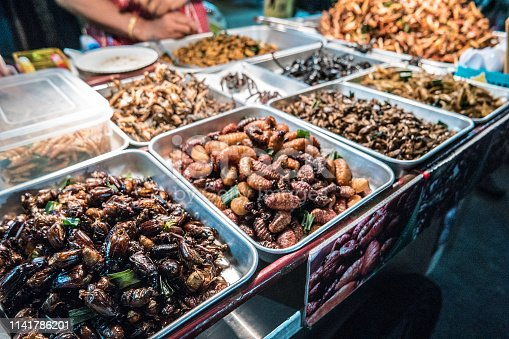 istock Fried insects on the streets of Bangkok, Thailand 1141786201