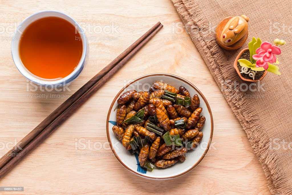 Fried insects - Wood worm insect crispy with pandan stock photo