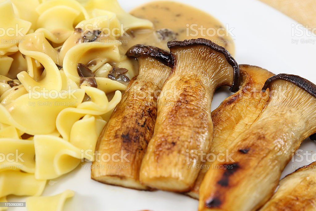 Fried King Oyster Mushrooms stock photo