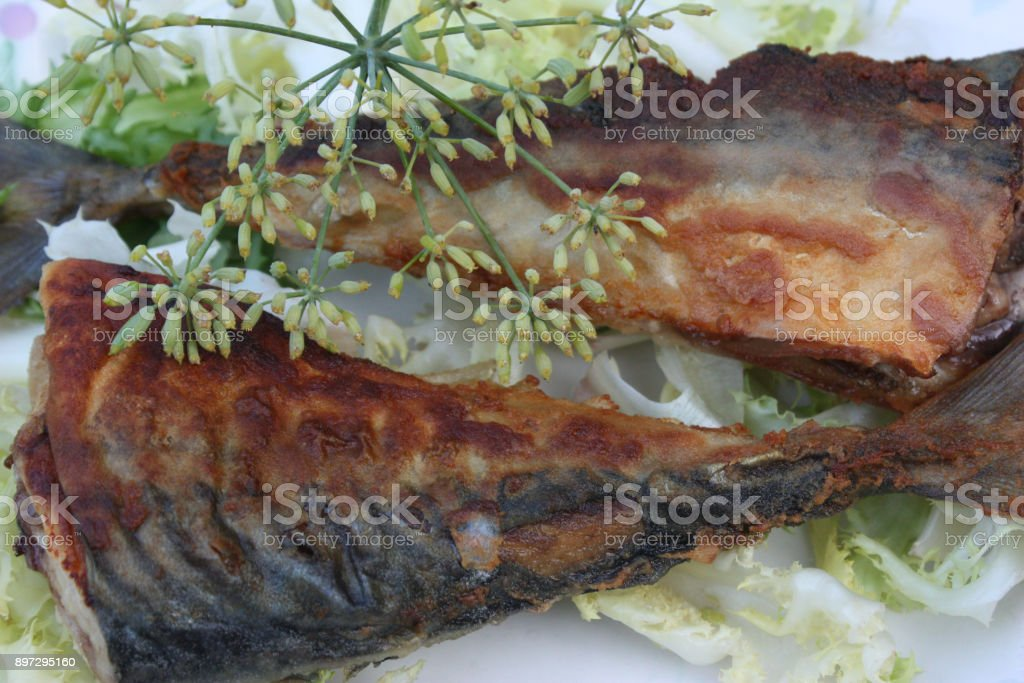 Fried mackerel stock photo