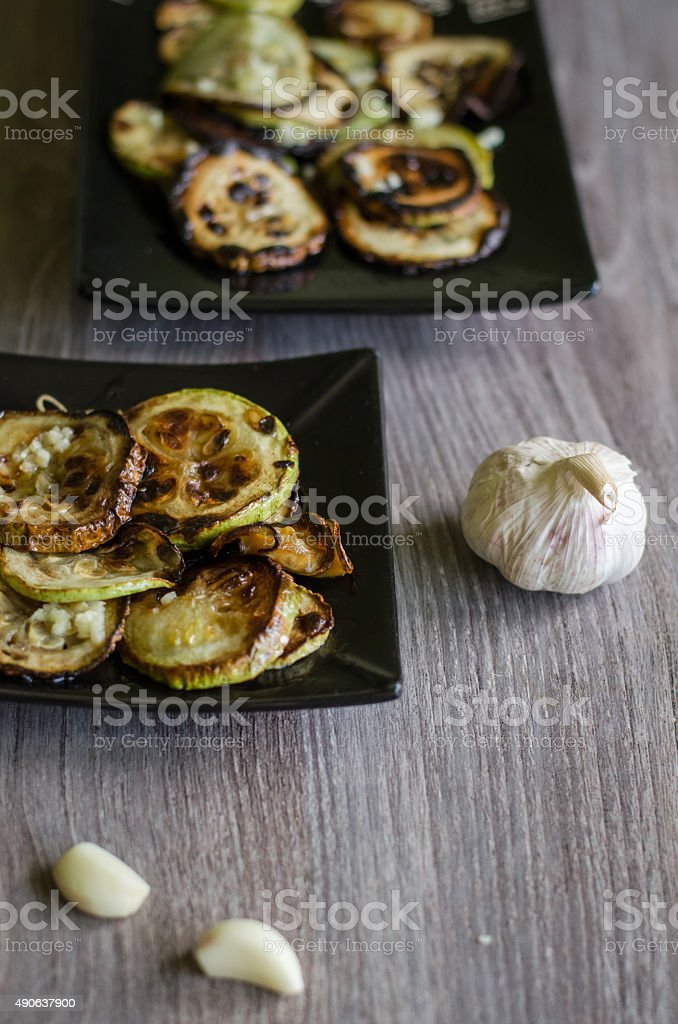 Fried marrow squash stock photo