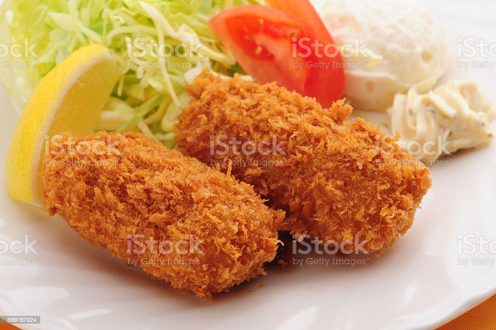 Fried mashed potato,Croquetto stock photo