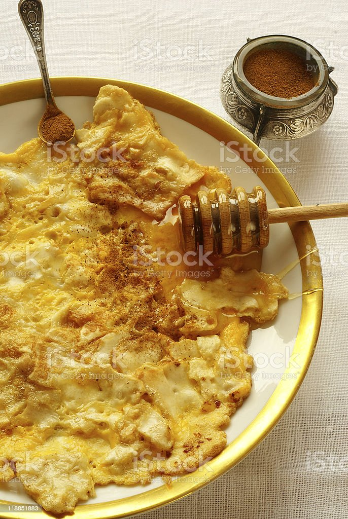 """Fried matzo (""""matzo brei"""") - omelette style royalty-free stock photo"""