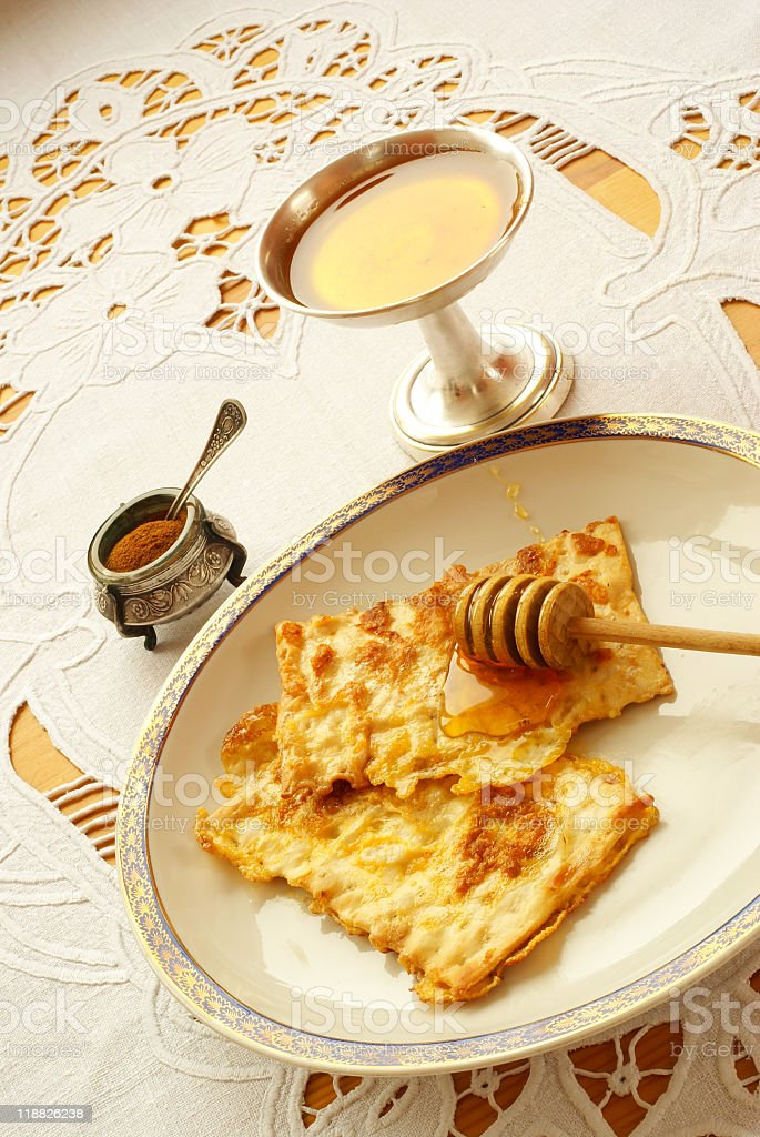 "Fried matzo (""matzo brei"") royalty-free stock photo"