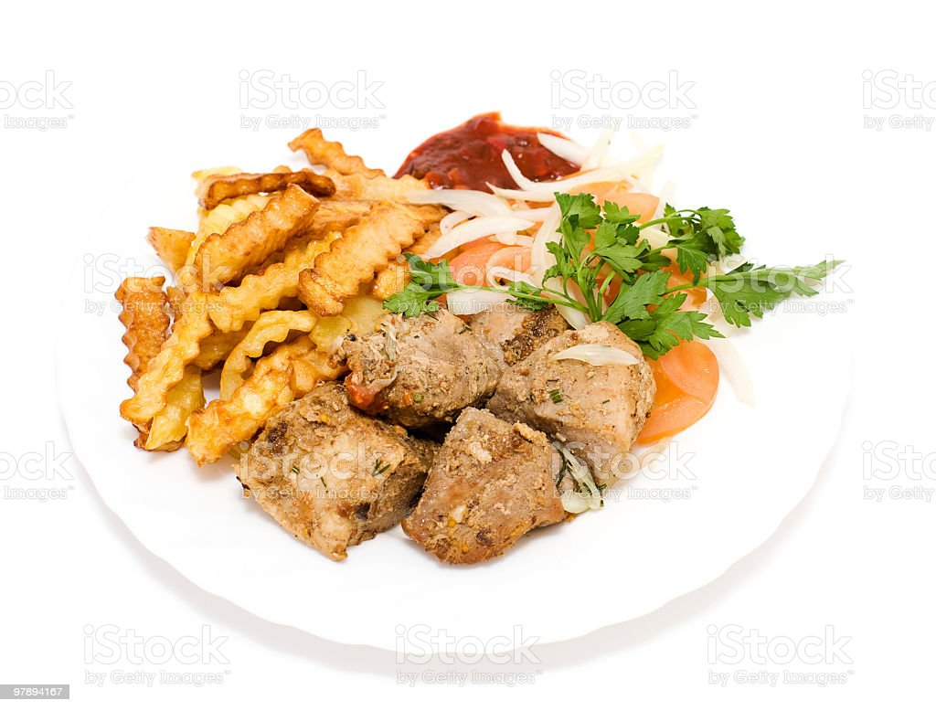 fried meat and potatoes royalty-free stock photo