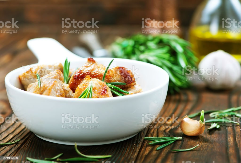 fried meat stock photo