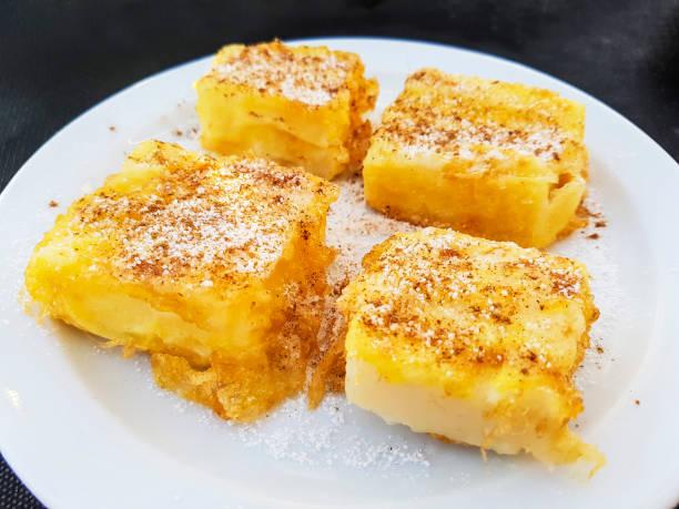 Fried milk dessert stock photo