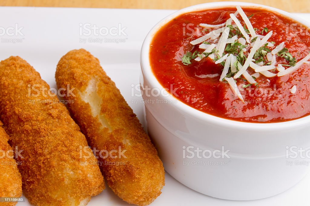 Fried Mozzarella Cheese Sticks and Marinara stock photo