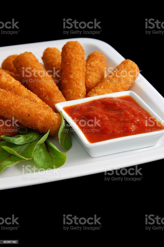 Fried Mozzarella Sticks With Marinara Sauce stock photo