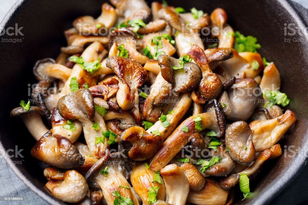 Fried mushrooms with fresh herbs in black cast iron pan. stock photo
