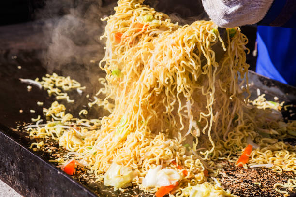 Fried noodle made with festival stock photo