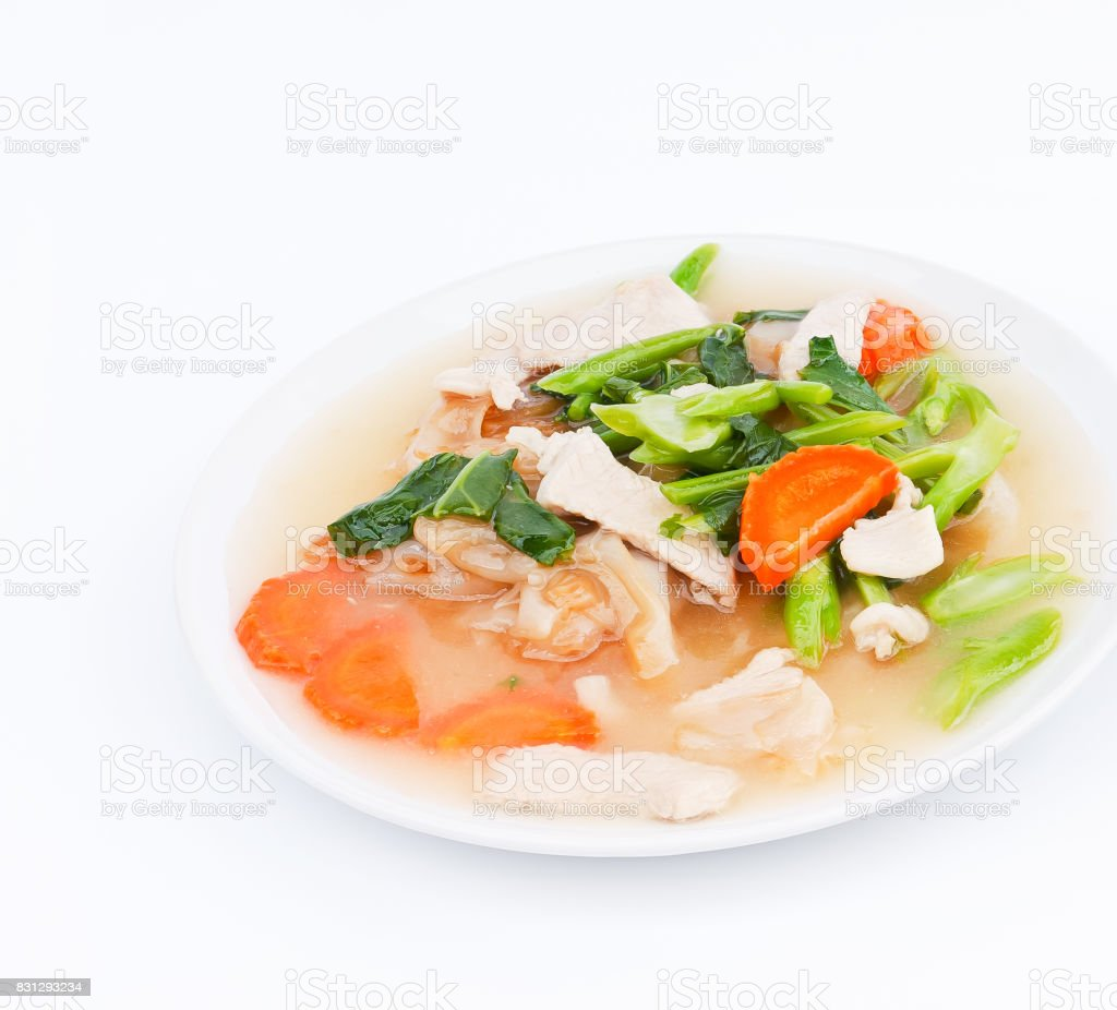 Fried noodles with pork and vegetables. stock photo