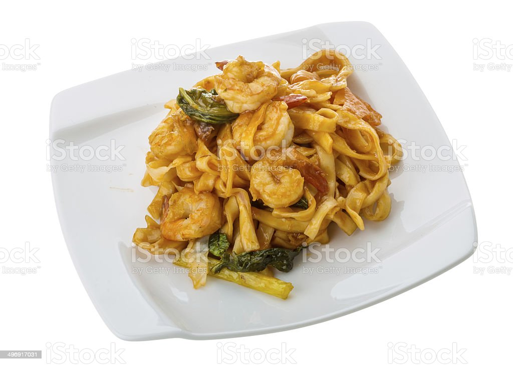 Fried noodles with shrimps stock photo
