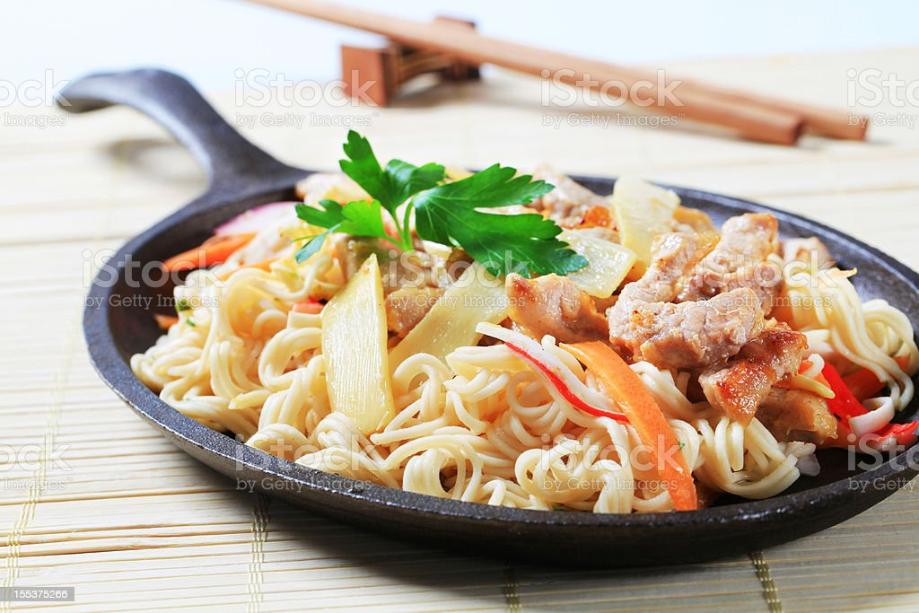Fried noodles with vegetables royalty-free stock photo