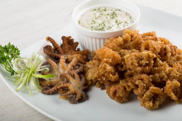Fried Octopus and Calamari stock photo