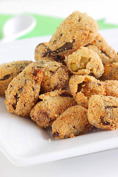 Fried okra stock photo