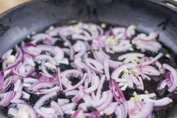 Fried onions in a frying pan. Fried onions in a frying pan. red onions stock pictures, royalty-free photos & images