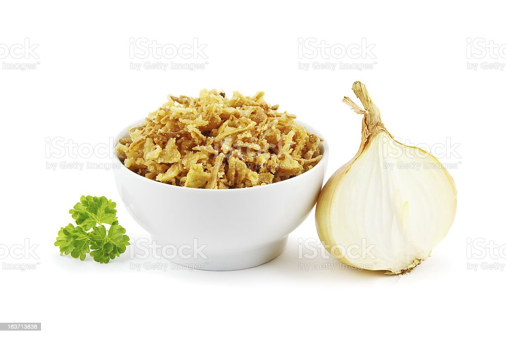 Fried onions stock photo