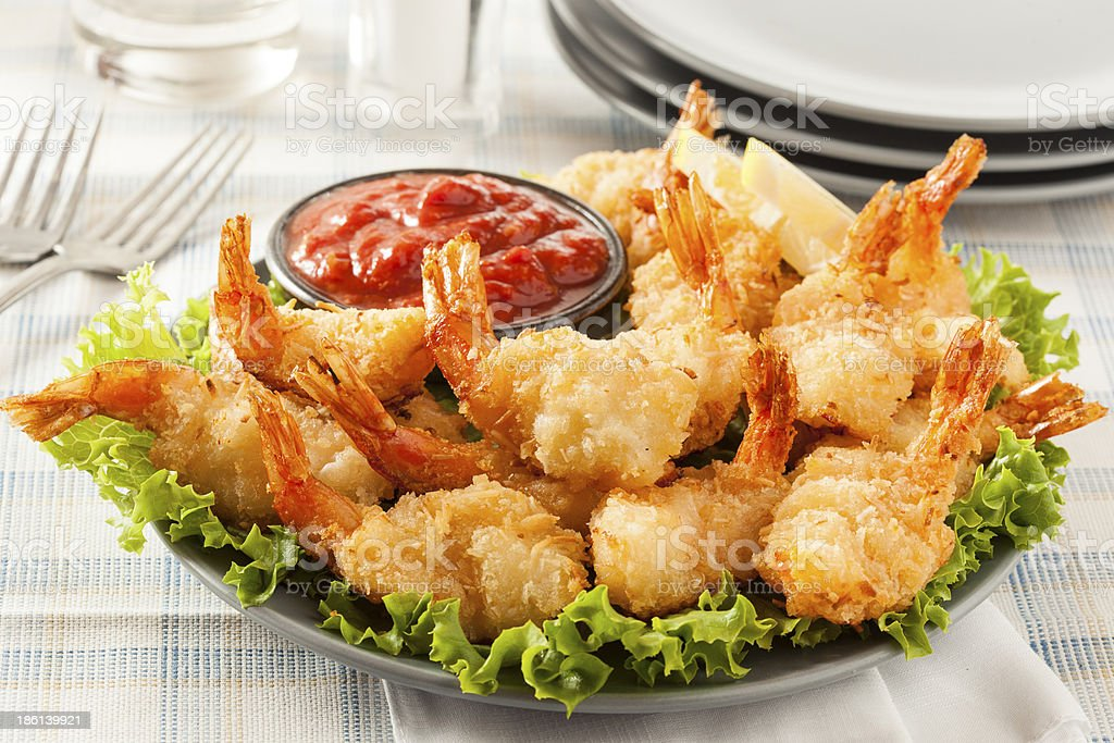 Fried Organic Coconut Shrimp stock photo