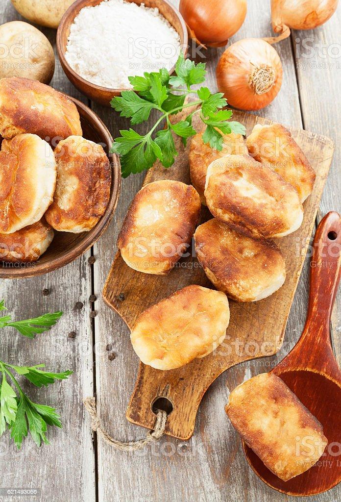Fried pastry with potato Lizenzfreies stock-foto