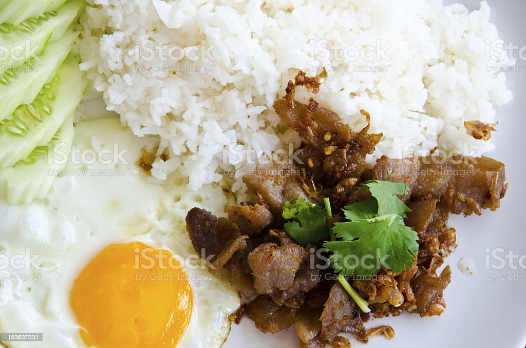 fried pork and rice stock photo