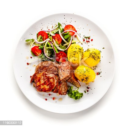 Fried pork and vegetables on white background