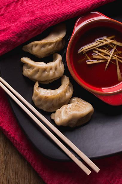 fried pork dunplings stock photo