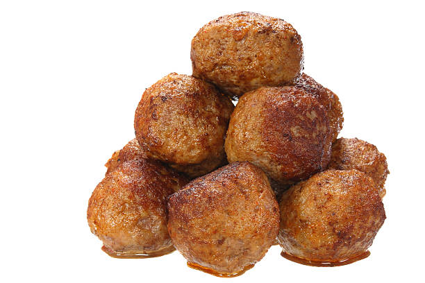 Fried pork meatballs Fried pork meatballs on white background  meatball stock pictures, royalty-free photos & images