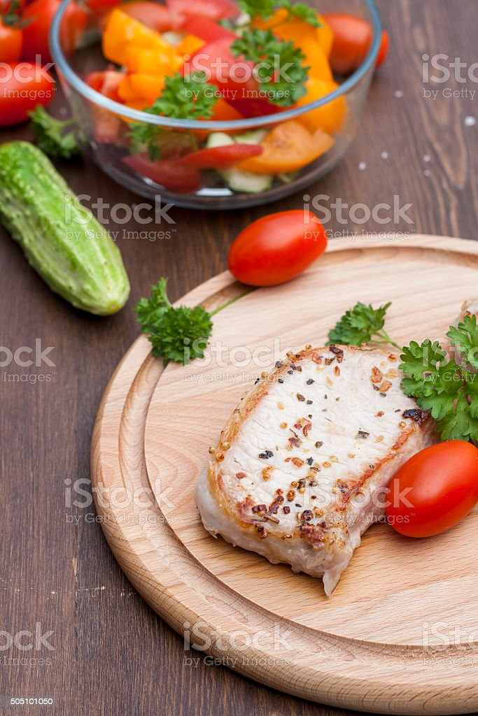 Fried pork steak with vegetables royalty-free stock photo