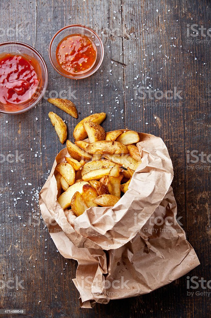 Fried potato 'country-style' stock photo