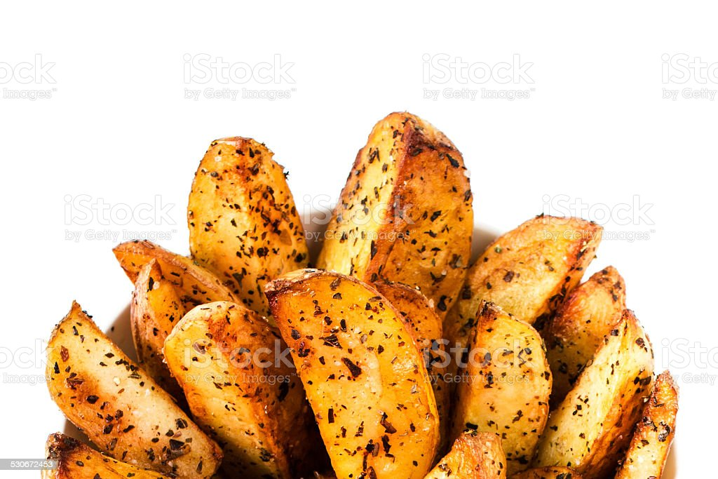 Fried potato in country style isolated on white background close stock photo