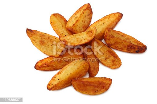 Fried potato wedges isolated on white background. top view. Fast food