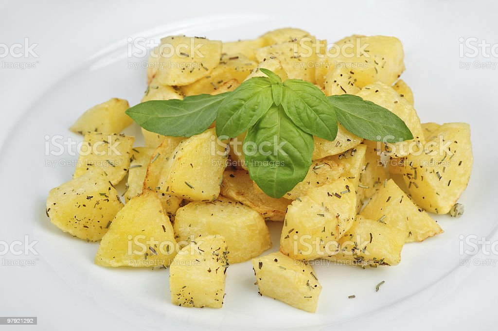 fried potato with spices royalty-free stock photo