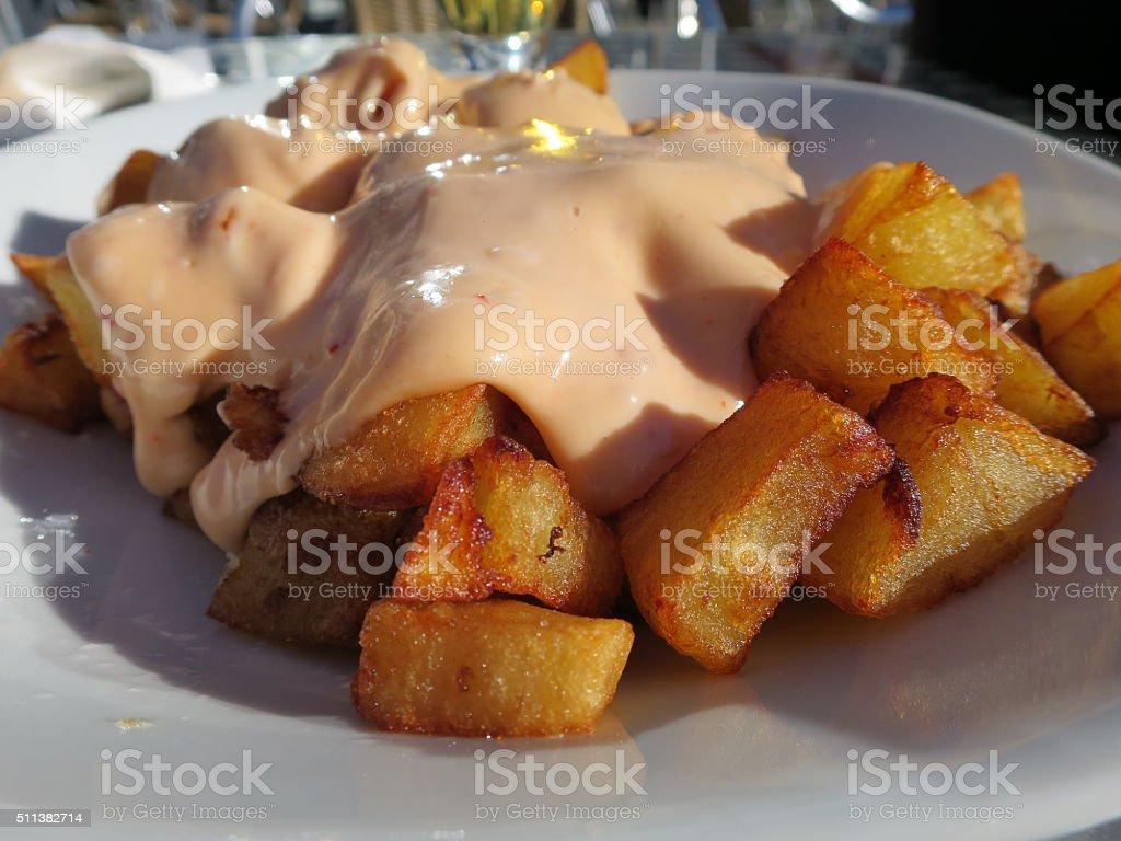 Fried Potatoes with Mayonnaise stock photo