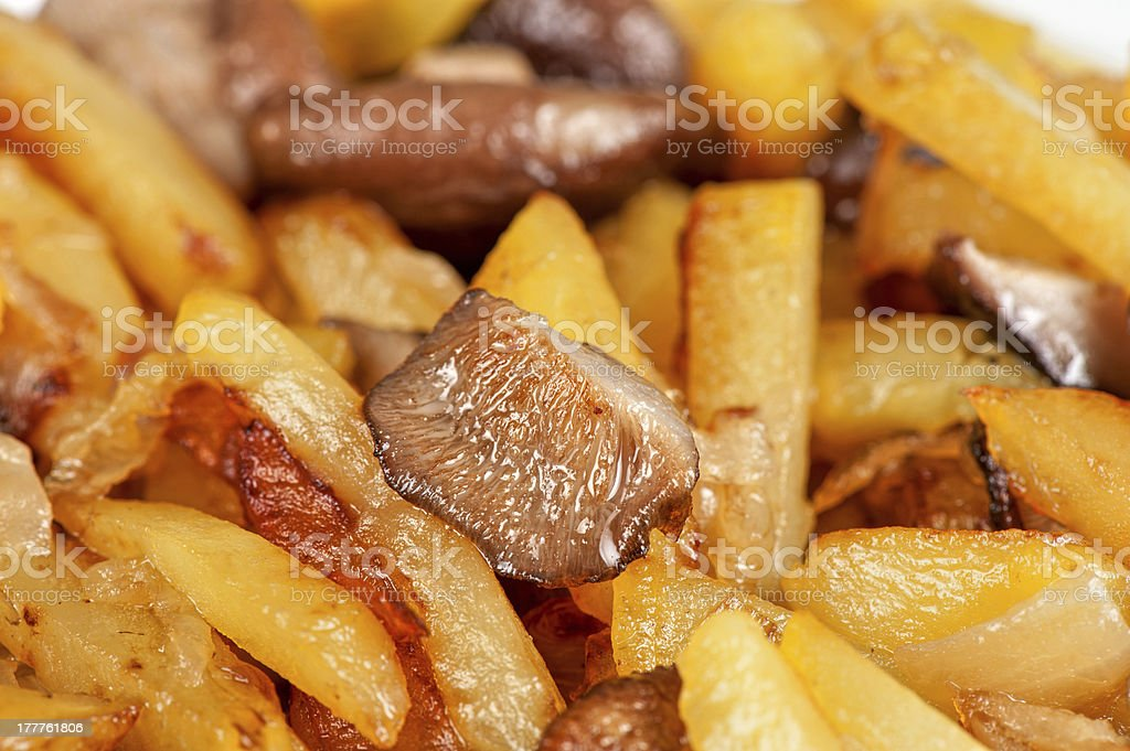 fried potatoes with mushrooms royalty-free stock photo