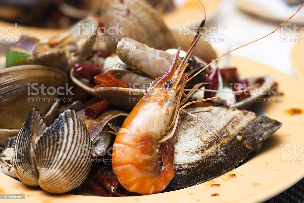 Fried Prawns and seashell royalty-free stock photo