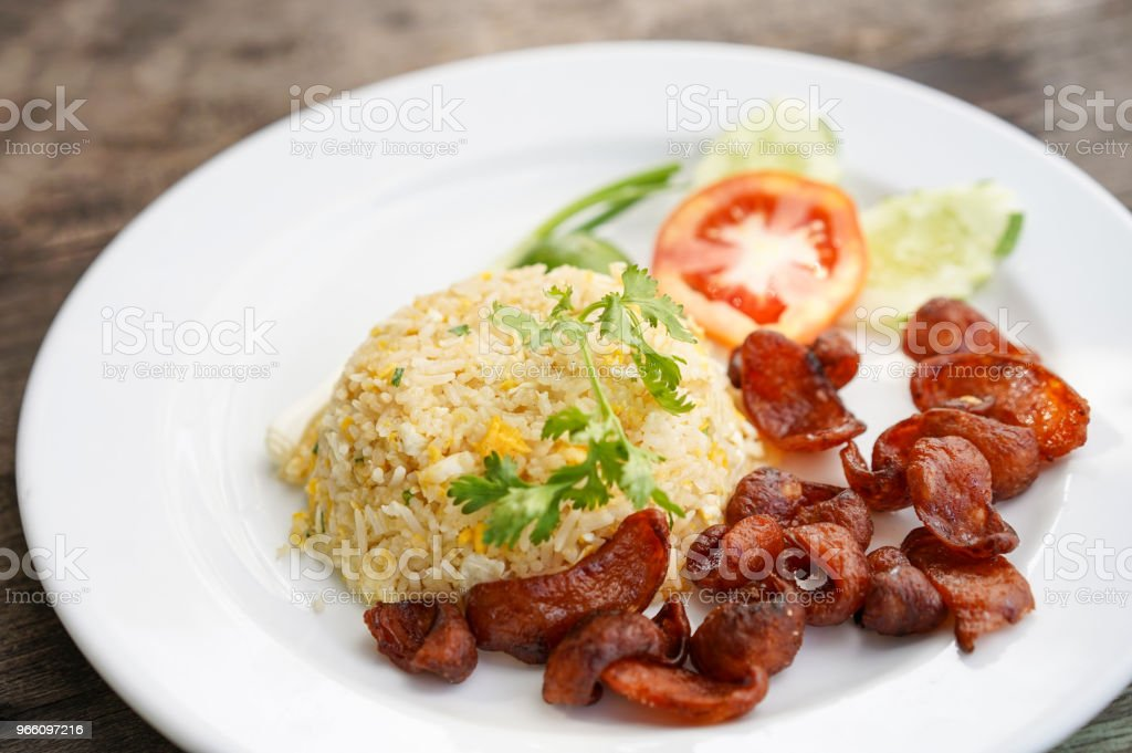 Fried Rice and Chinese Sausage, Thai food - Стоковые фото Без людей роялти-фри