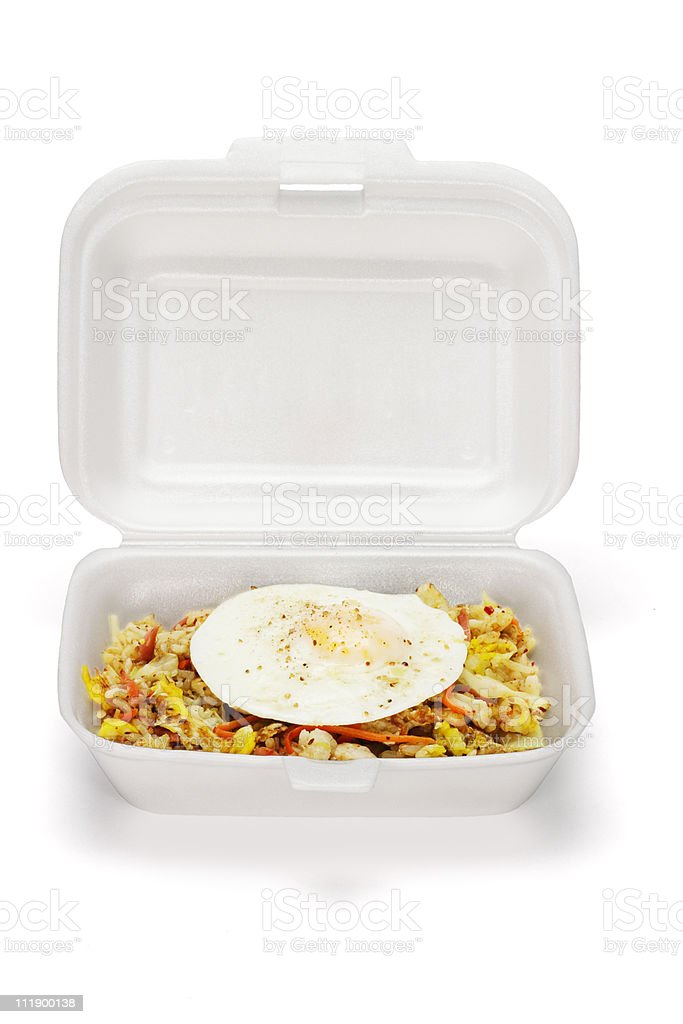 Fried rice and egg in Styrofoam box royalty-free stock photo